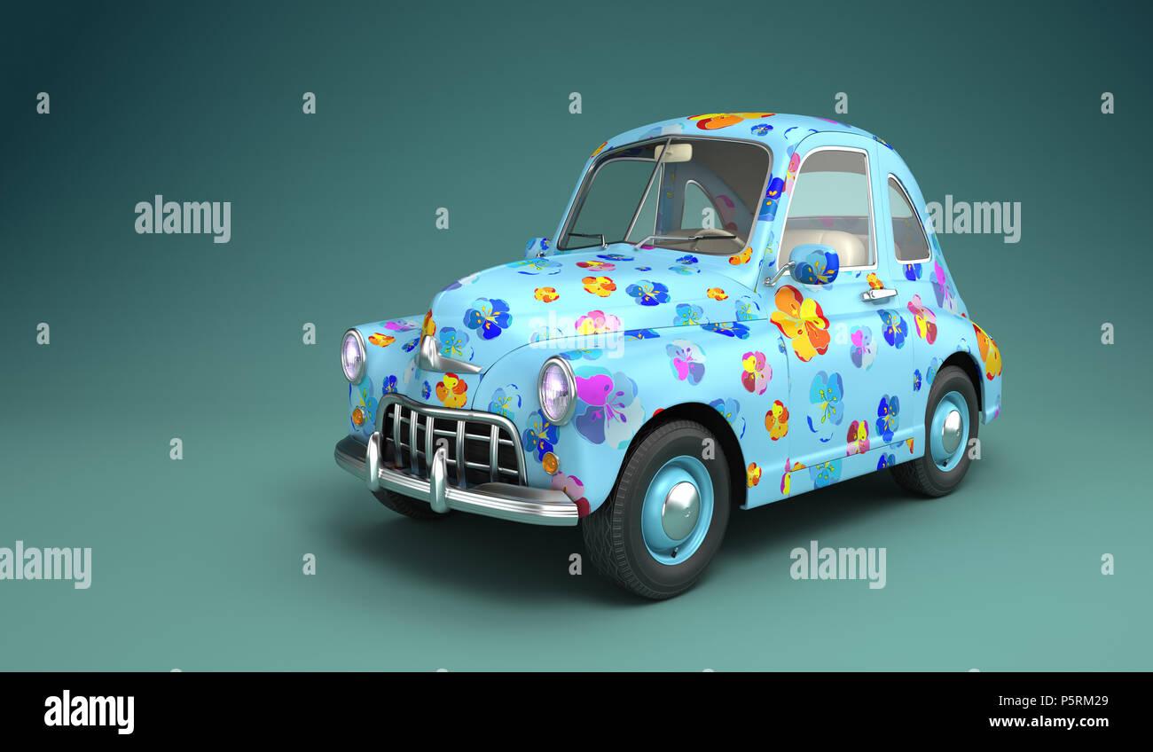 Cartoon auto con stampa fiori. 3D illustrazione Immagini Stock
