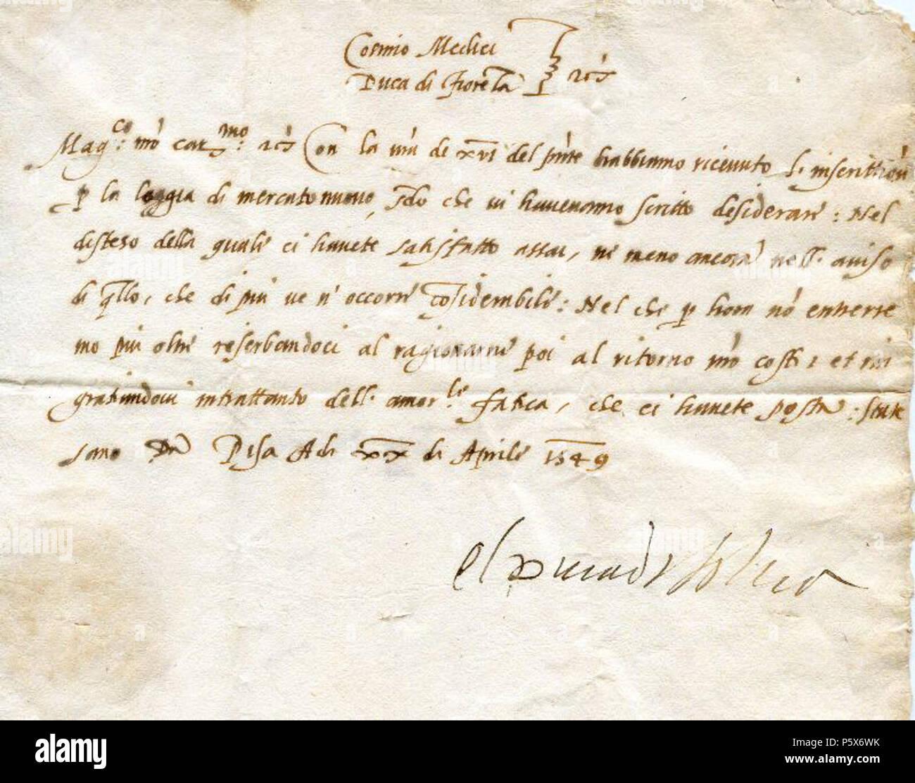 Na Inglese Lettera Da Cosimo I De Medici Granduca Di Toscana