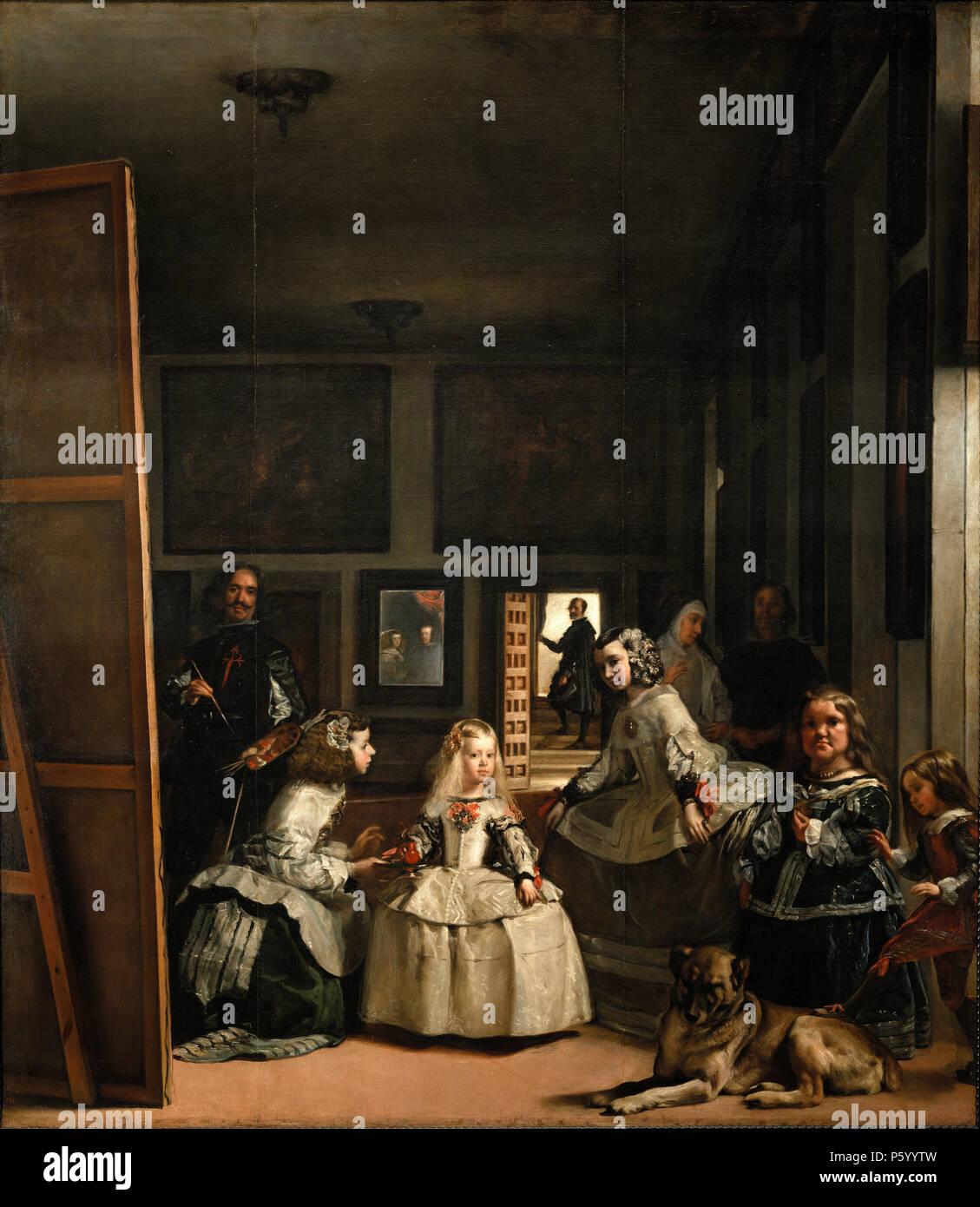 Las Meninas, il Signore-in-attesa, 1656 da Diego Velázquez Immagini Stock