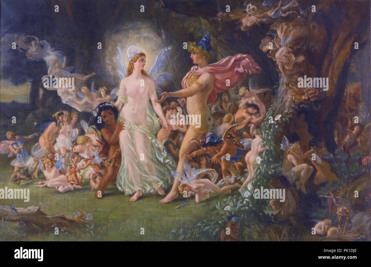La lite di Oberon e Titania olio su tela firmato b.r. monogram e datata 1880 Immagini Stock