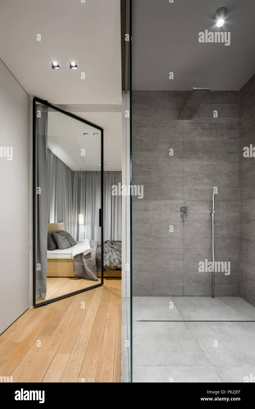 Moderno bagno con ampia doccia in piedi accanto alla camera da letto con sportello in vetro foto - Camera da letto con bagno ...