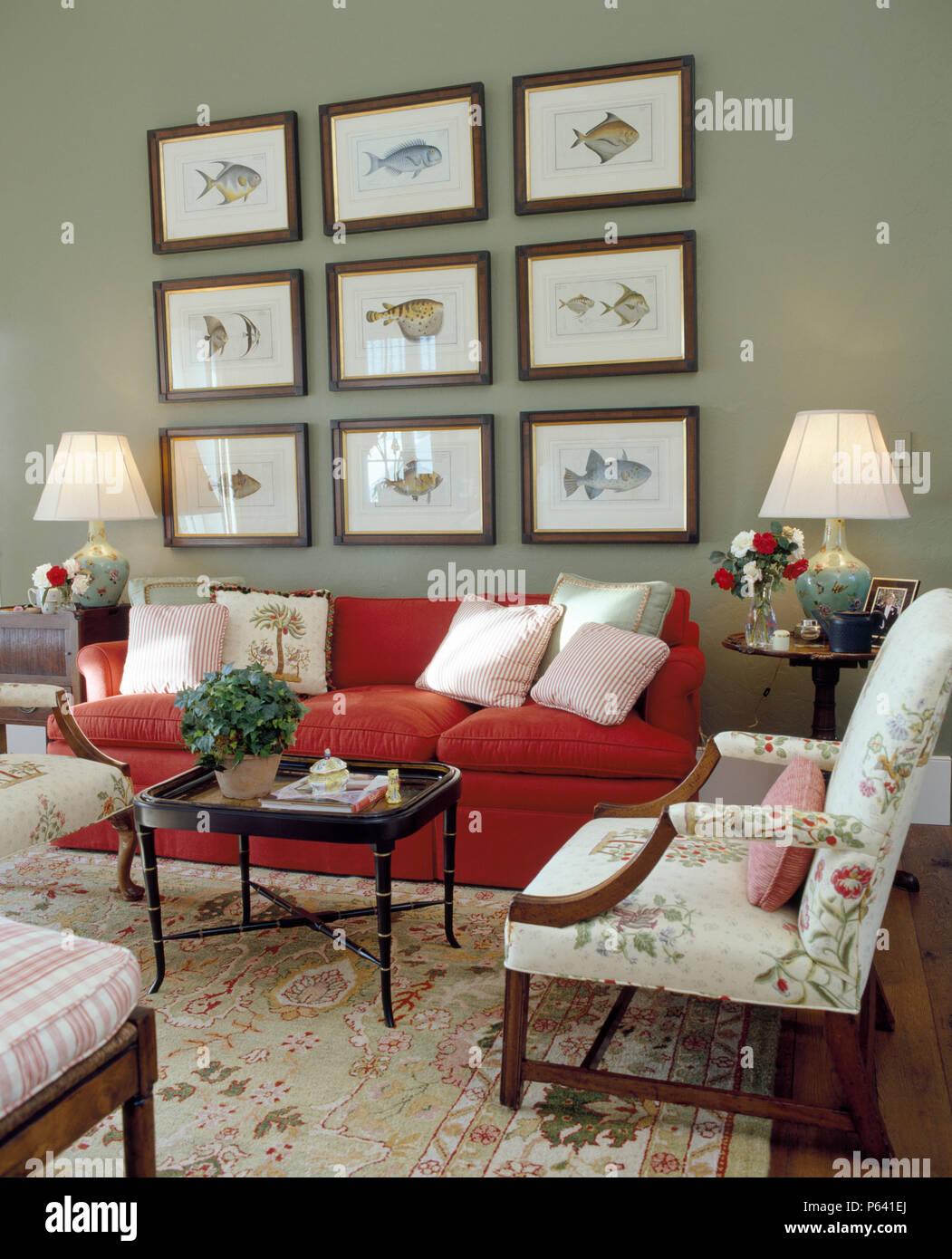 Divano Rosso E Grigio gruppo di stampe di pesce al di sopra di divano rosso in