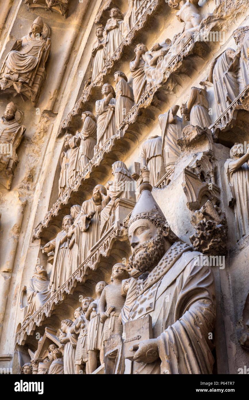 Cattedrale di Reims Marne Grand Est Francia Immagini Stock