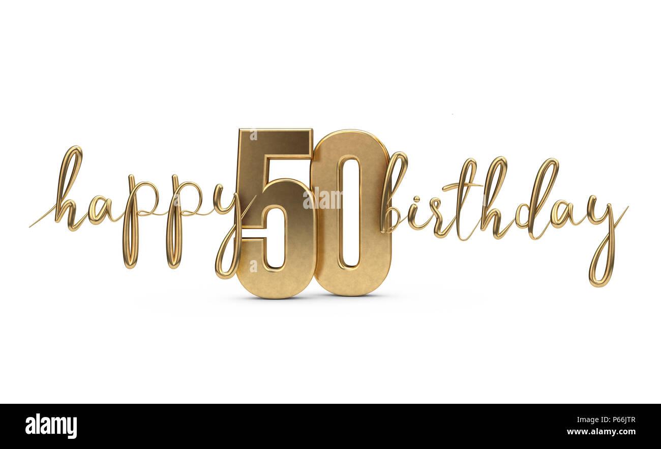 Felice Cinquantesimo Compleanno Oro Sullo Sfondo Di Saluto Il