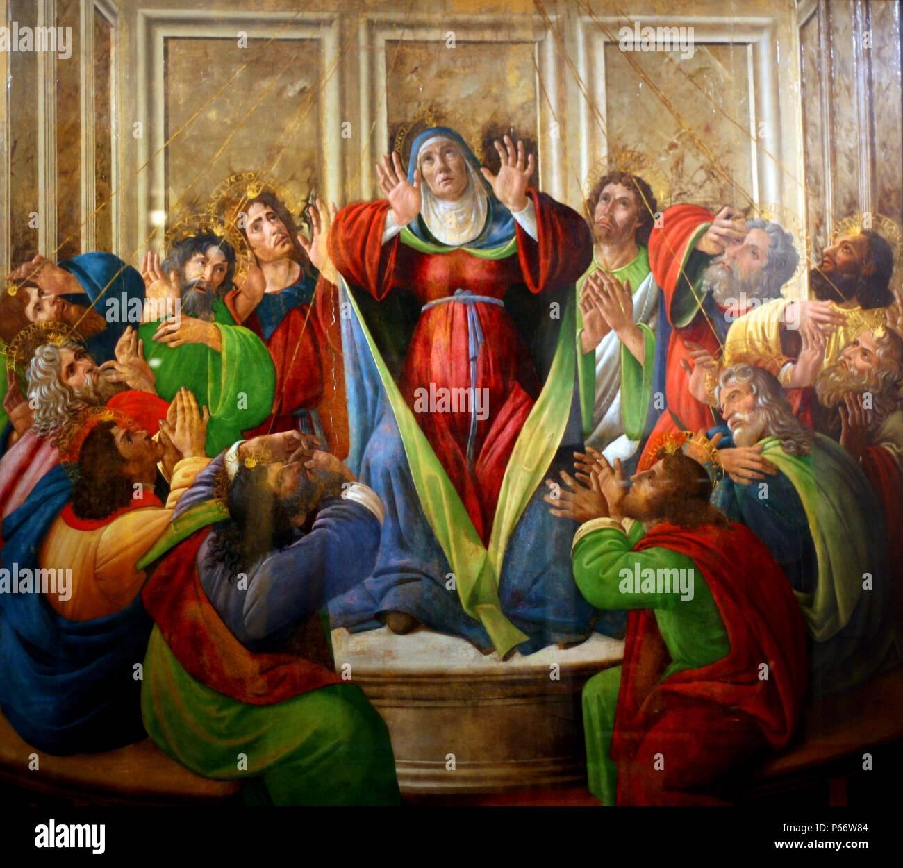 Sandro Botticelli (1445-1510) La Discesa dello Spirito Santo, data sconosciuta, Birmingham Museum di arte. Pesantemente restaurato nel XIX secolo la pittura commemora la nascita della Chiesa cristiana quando gli apostoli hanno cominciato a diffondere il Vangelo. Immagini Stock