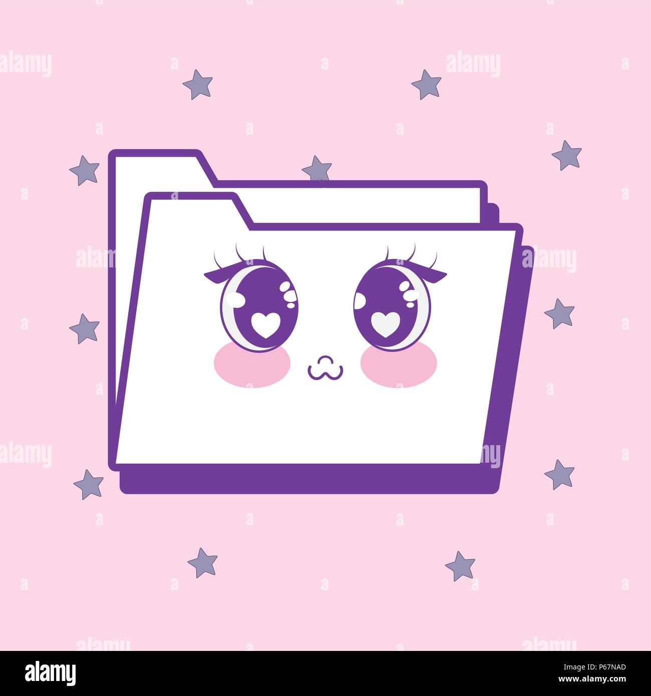 Kawaii Documento Icona Cartella Su Sfondo Rosa Design Colorato