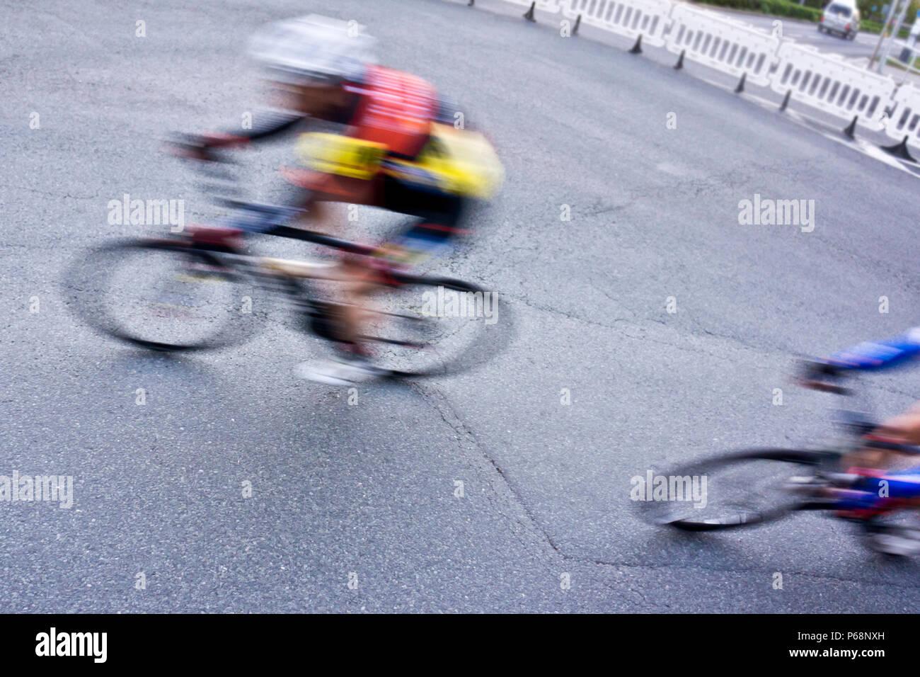 Bicicletta da strada racing sprint, motion blur effetto Immagini Stock