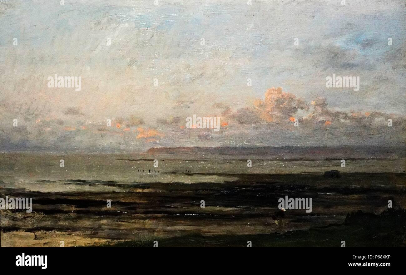 """Pittura intitolato """"Spiaggia di marea di declino' dipinta da Charles-François Daubigny (1817-1878) pittori della scuola di Barbizon, ed è considerato un importante precursore dell'Impressionismo. Datato 1878 Immagini Stock"""