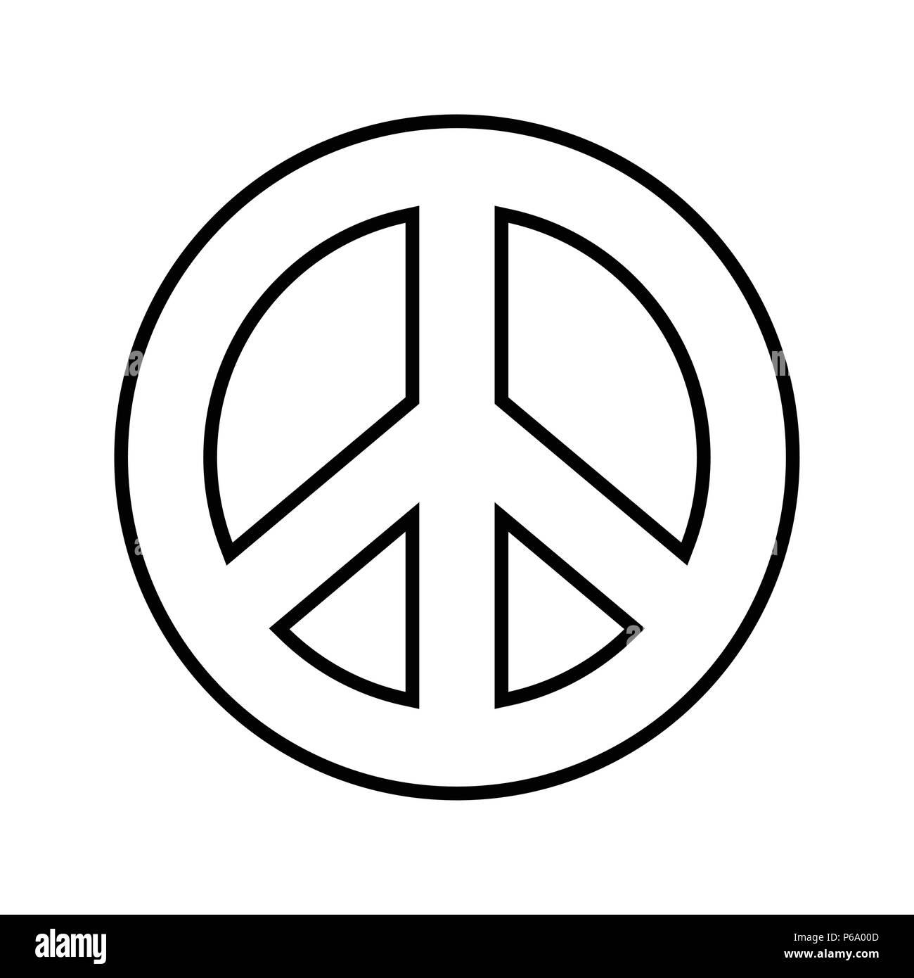 Pace Bianco E Nero simbolo di pace. contorno bianco e nero grafica vettoriale