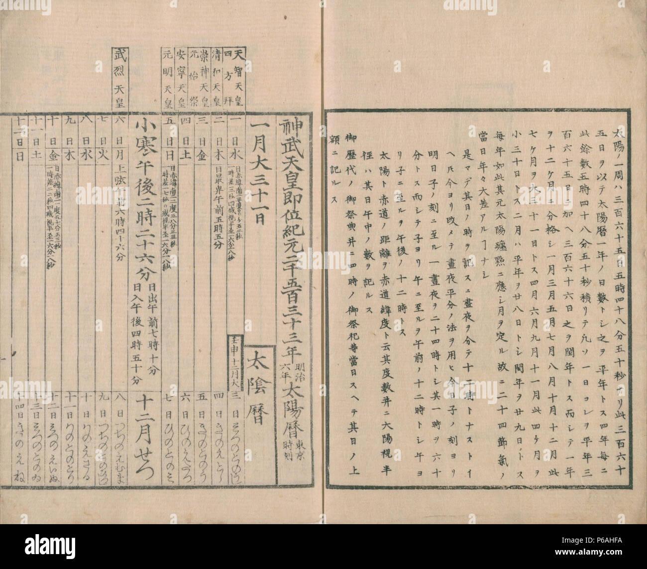 Calendario Giapponese.Calendario Solare 1873 Giappone Collezione Privata