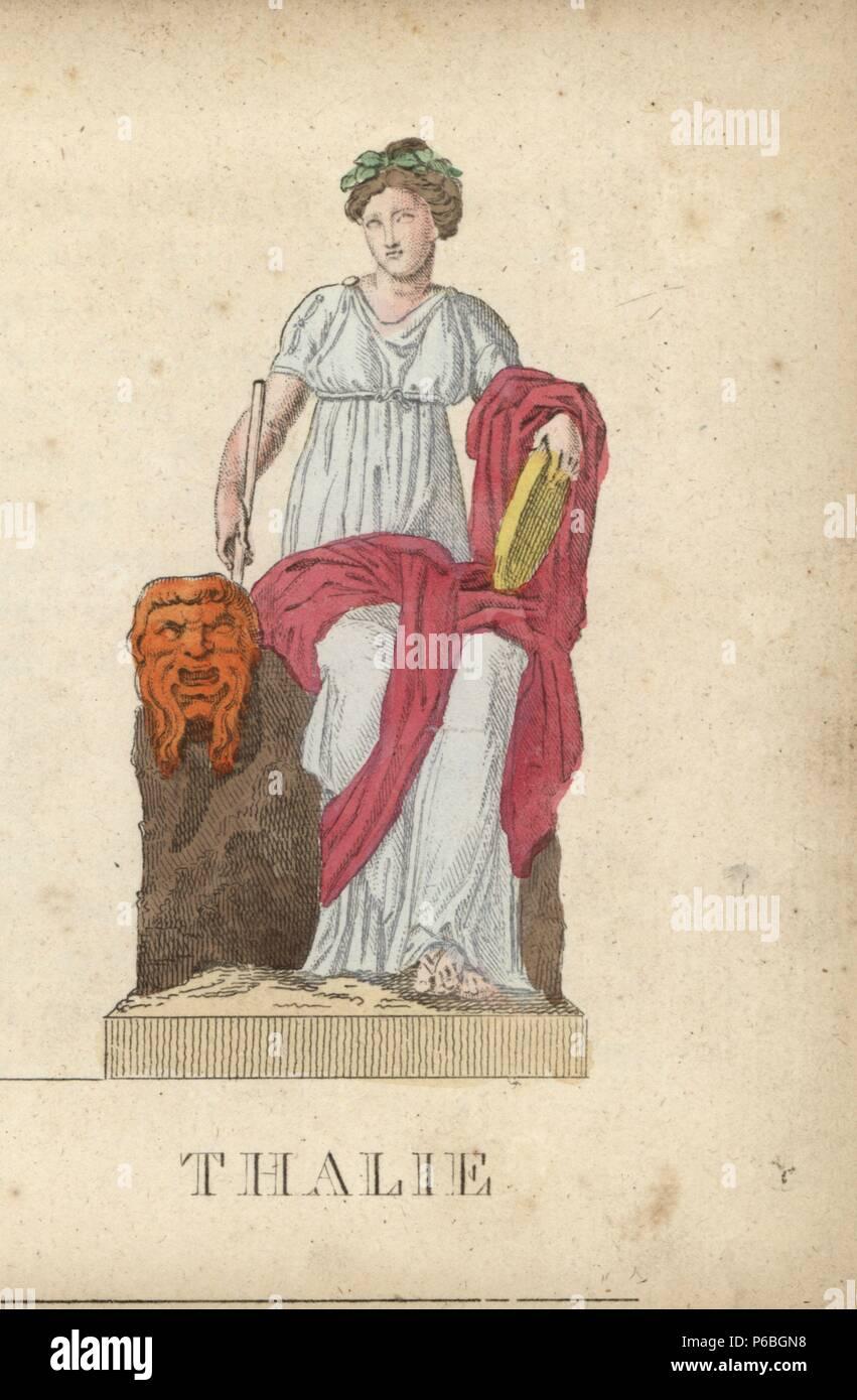Thalia Greca Musa Della Commedia Con Corona Di Alloro Maschera Di