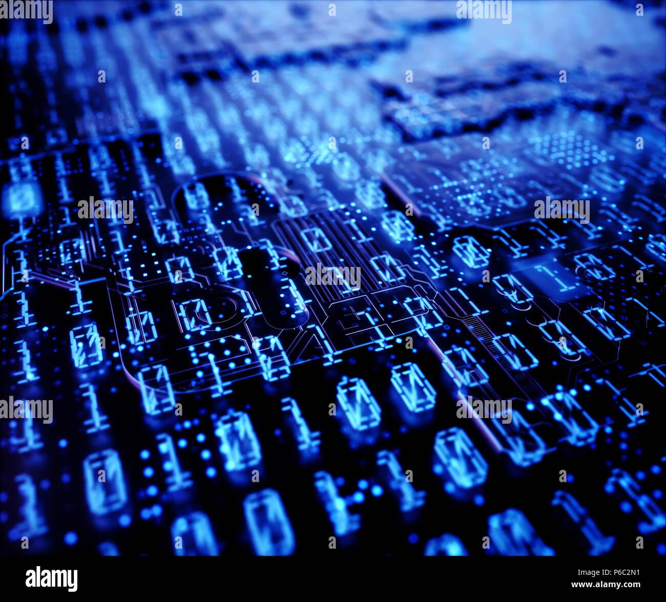 3D'illustrazione. Sfondo astratto di codici binari su un display digitale, concetto tecnologico. Immagini Stock