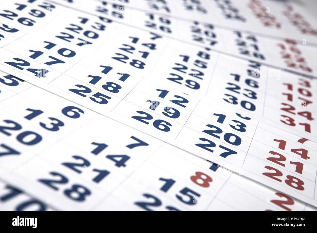 Calendario Con Numero Giorni.Fogli Di Calendario Da Parete Con Il Numero Di Giorni Di