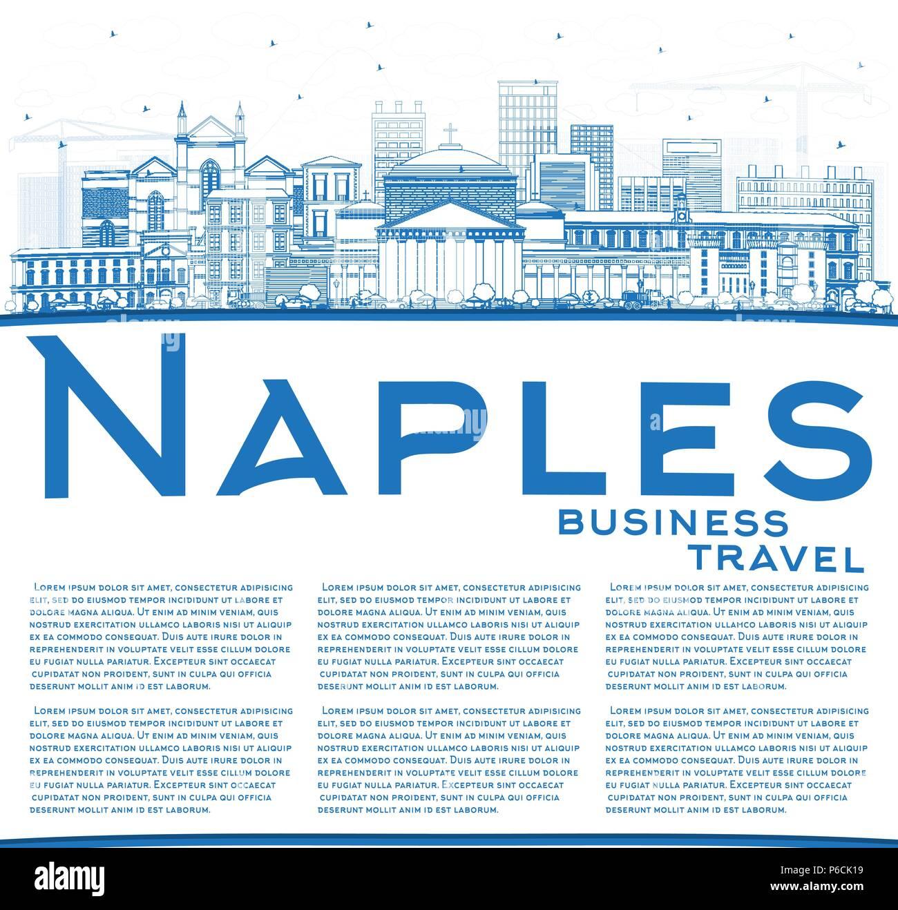 Lavoro Come Architetto Napoli delineare napoli italia skyline della città con edifici blu