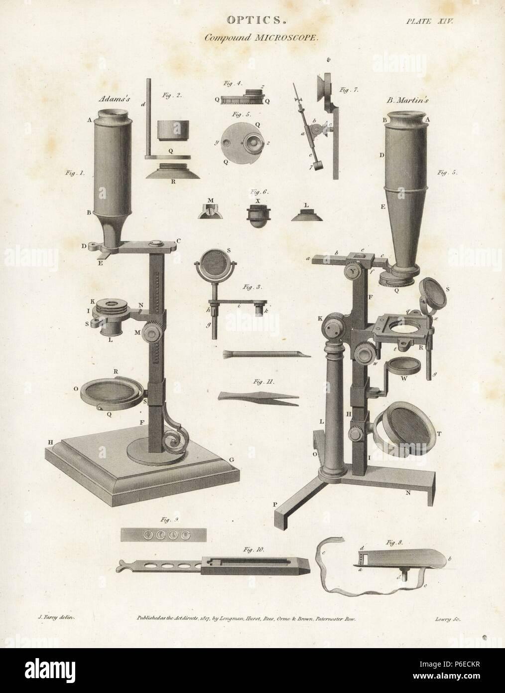4307dad739cb4d Microscopio composto da meccanismi e parti compreso Adams  e Martin s.  Incisione su rame da Wilson Lowry ...