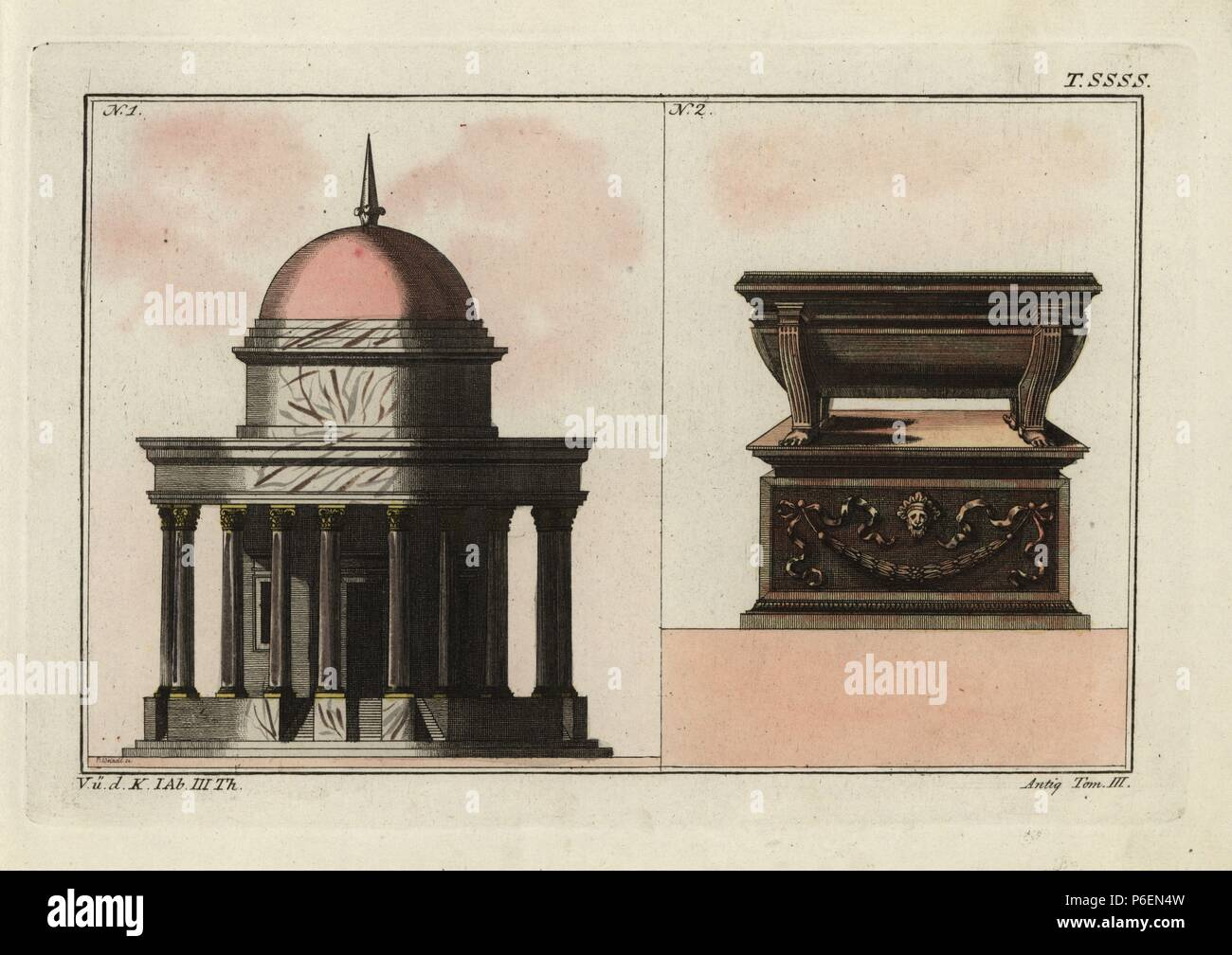 Tempio romano con la dome e colonne e bagno romano su un plinto