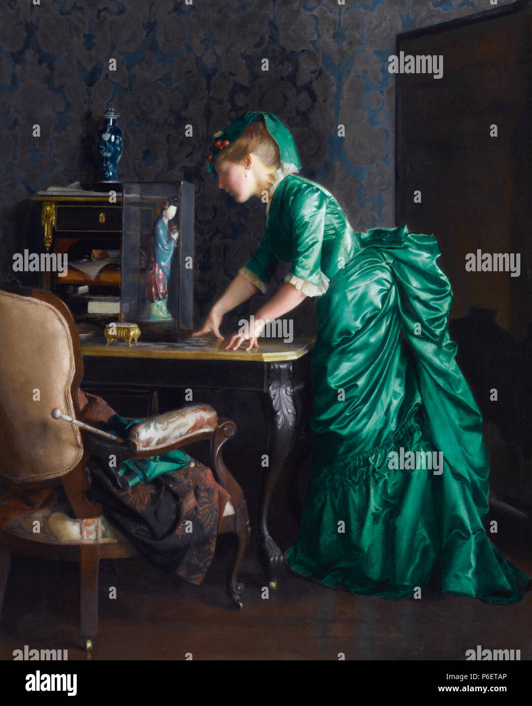 Inglese: l'abito verde olio su tela 91,4 x 71,1 cm firmato b.r.: Paxton 1914 . 1914 76 Il vestito di verde, da William McGregor Paxton Immagini Stock