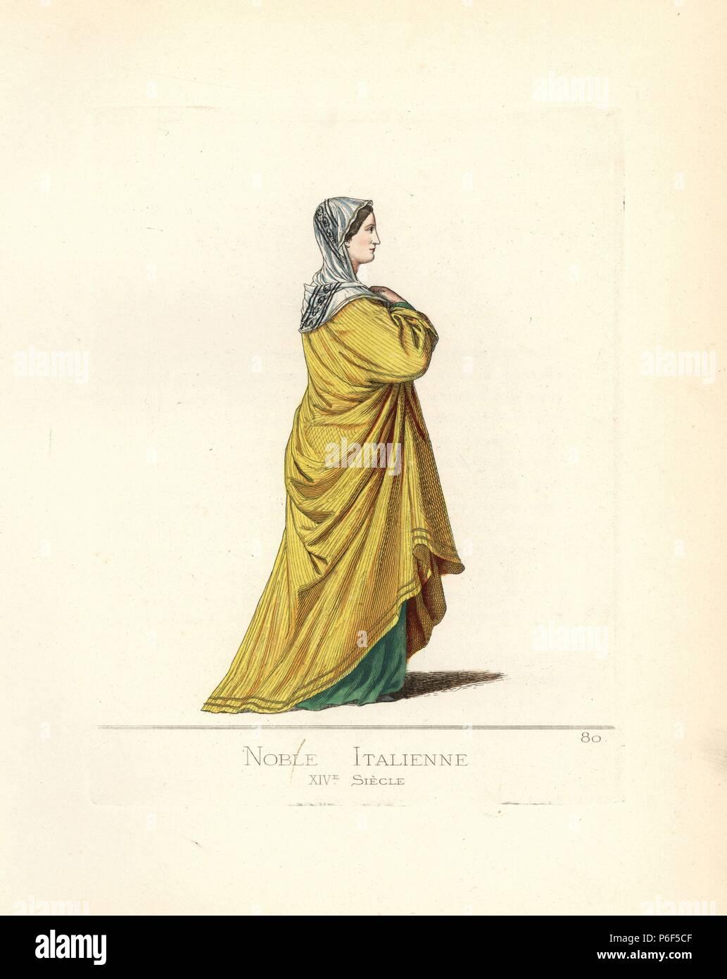 info for 0add7 56ecb L'italiano nobile donna, del secolo XIV, in velo con nero e ...