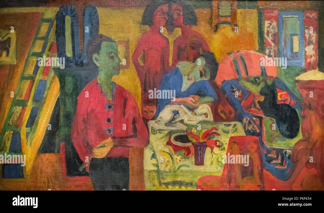 . Interieur mit Maler . Inglese: interno con il pittore Deutsch: Interieur mit Mahler . 1920 41 Ernst Ludwig Kirchner - Interieur mit Mahler 1280945 Foto Stock