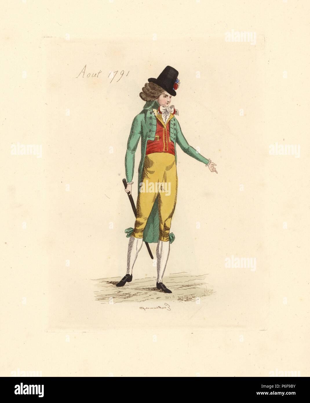 Il francese uomo che indossa la moda di agosto 1791. Indossa un cappello  alto con bcb35b88a34c