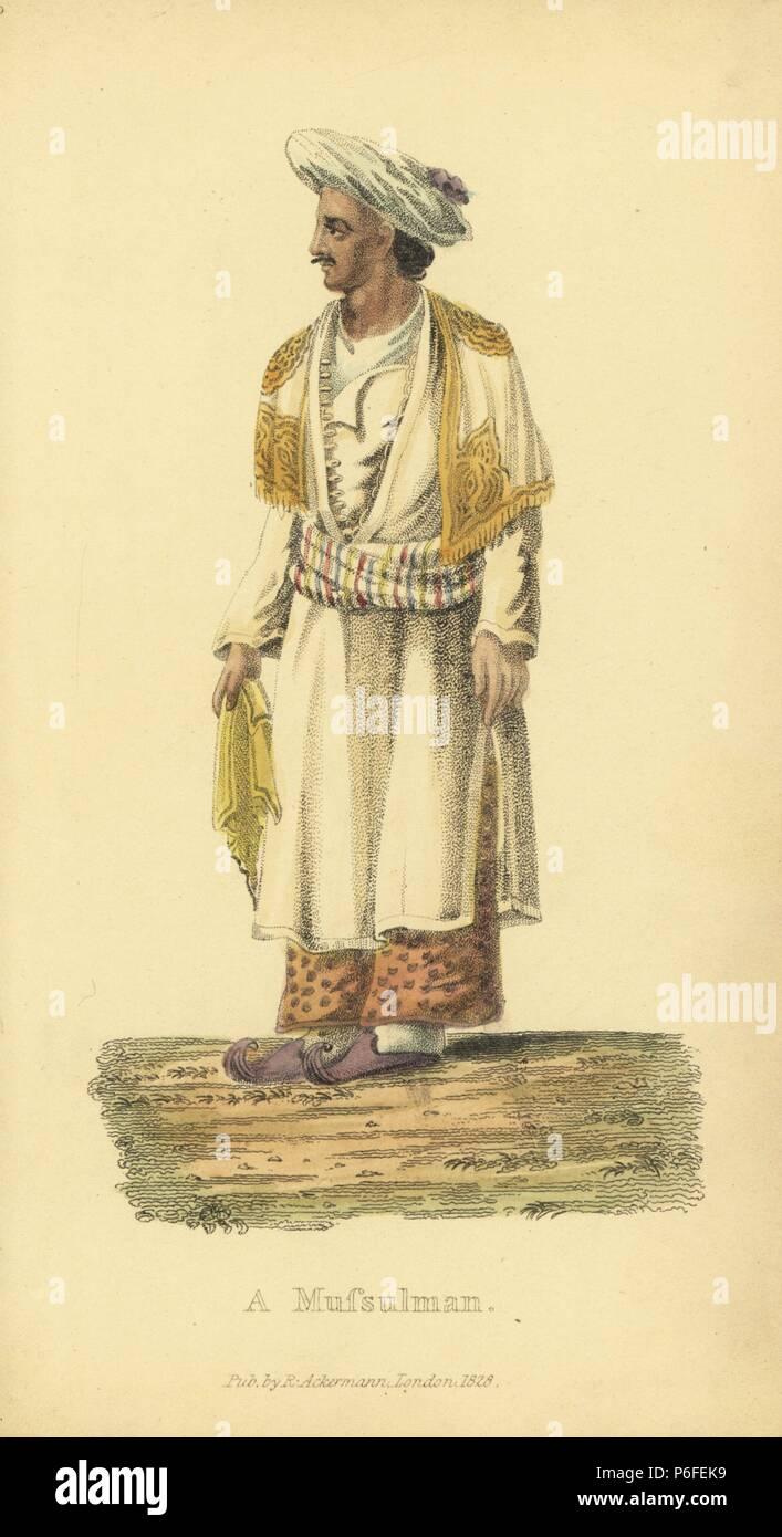 Mussulman o uomo musulmano, nelle vesti, anta, pantofole, Cashmere scialle e turbante. Handcolored incisione su rame da un artista sconosciuto da 'costumi asiatici,' Ackermann, Londra, 1828. Immagini Stock