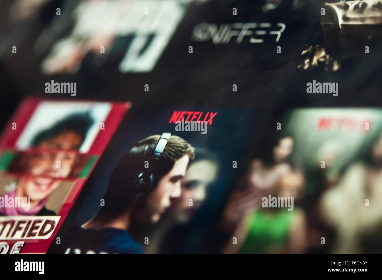 Schermata di Netflix Immagini Stock
