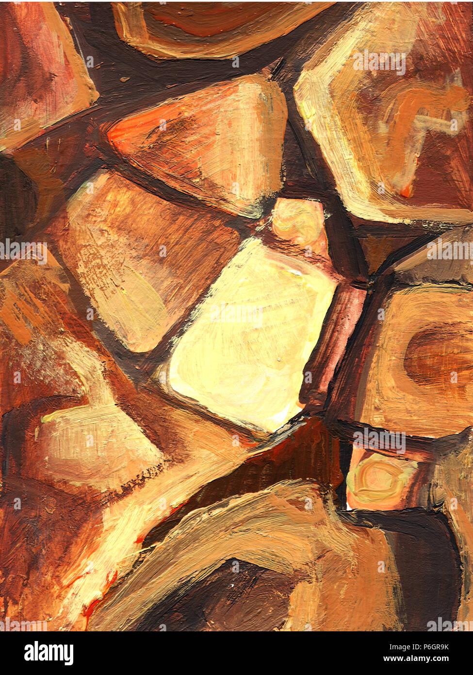 Arte dipinto astratto con sfondo arancione e marrone forme ...