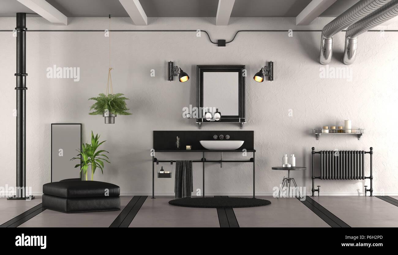 Bianco e nero vintage bagno con lavabo radiatore e sgabello d
