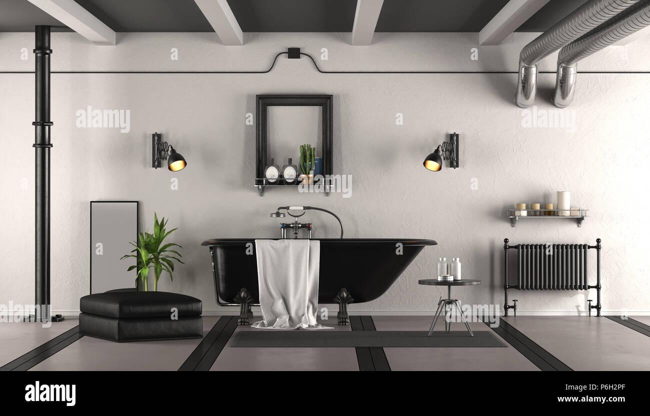 Vasca Da Bagno Retro : Bianco e nero bagno retrò con la classica vasca da bagno d