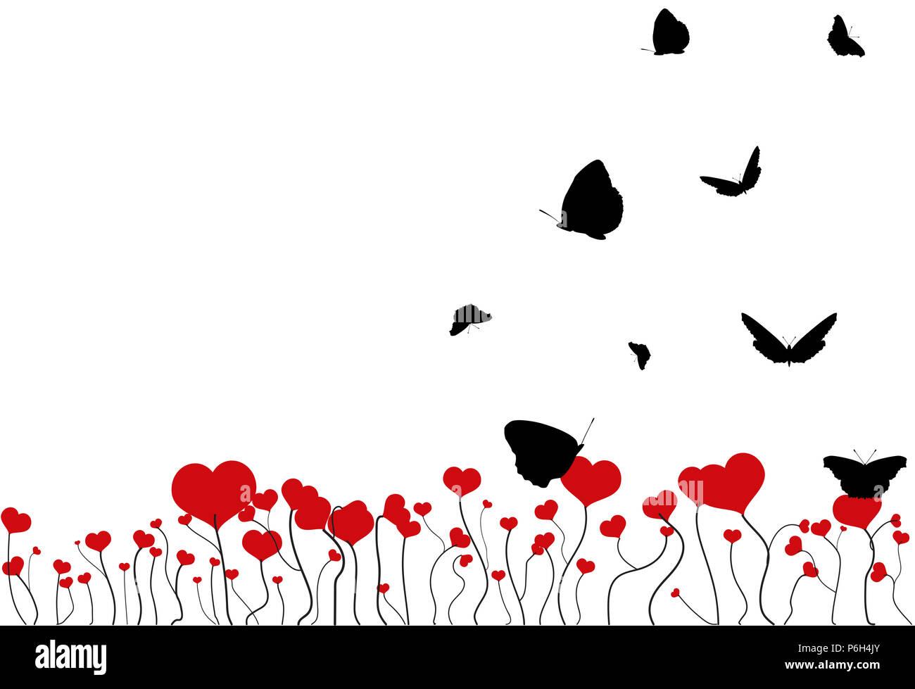 Campo Fiore Con Cuore Rosso E Nero Volanti Sagome Di Farfalle