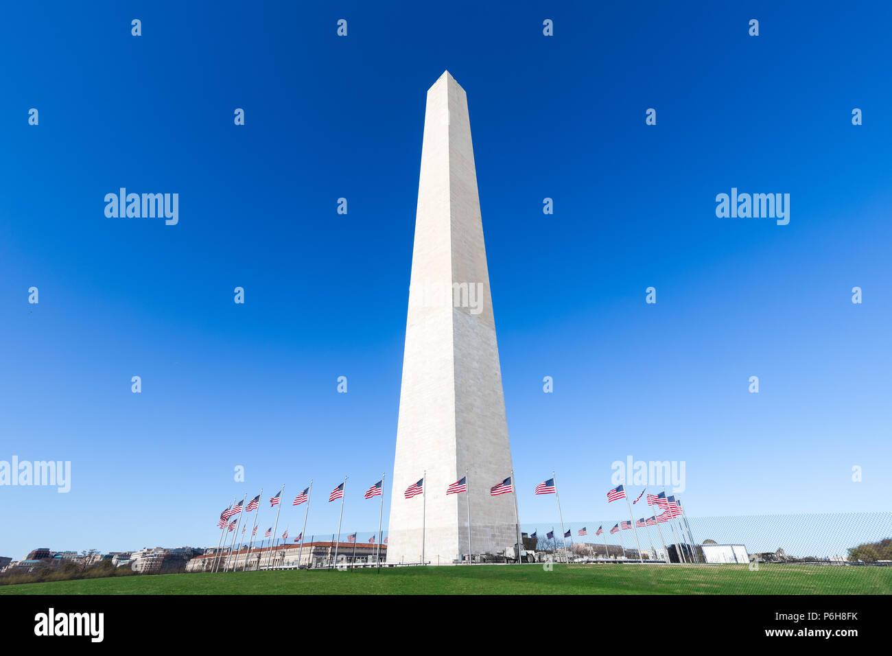 Il Monumento a Washington al National Mall con cielo blu chiaro, Washington DC, Stati Uniti d'America Foto Stock