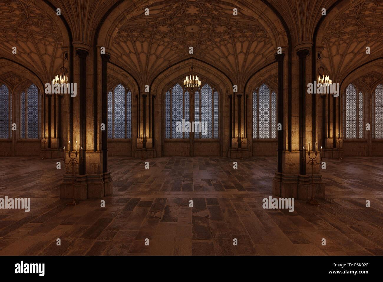 La sala da ballo del palazzo con candele illuminazione della