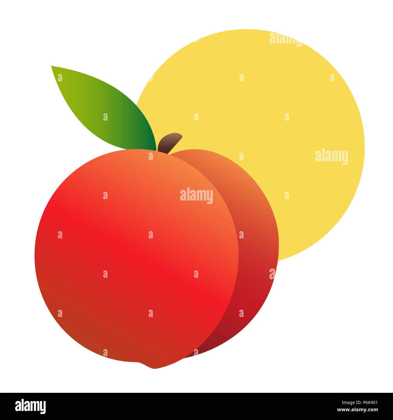 Illustrazione di un realistico peach contro un sole giallo. Sfondo bianco. Estiva e fresca e moderna. Immagini Stock