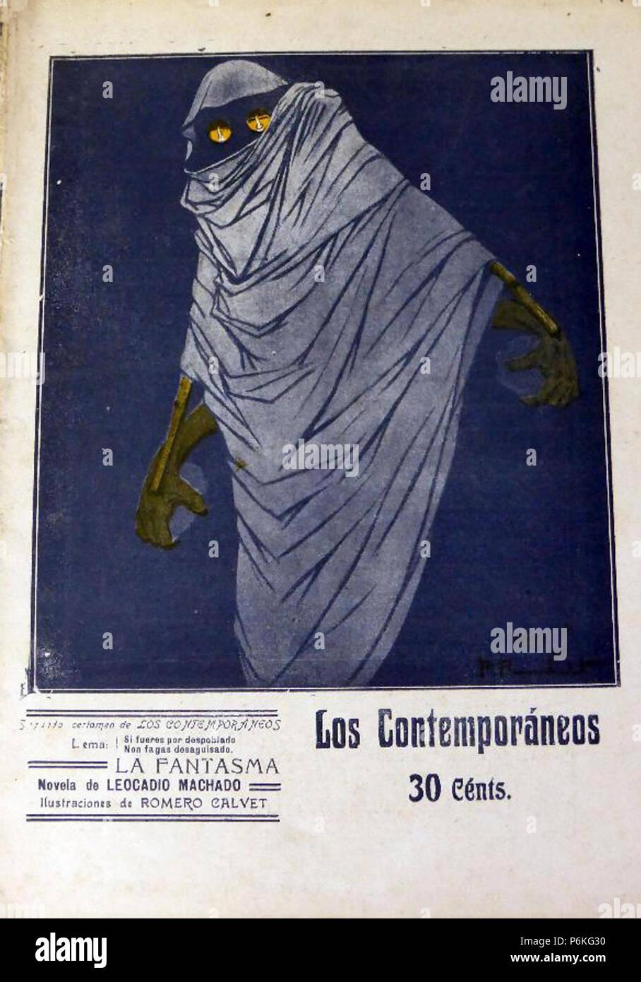 1911-08-25, Los Contemporáneos, La fantasma, de Leocadio Machado, Romero Calvet. Immagini Stock