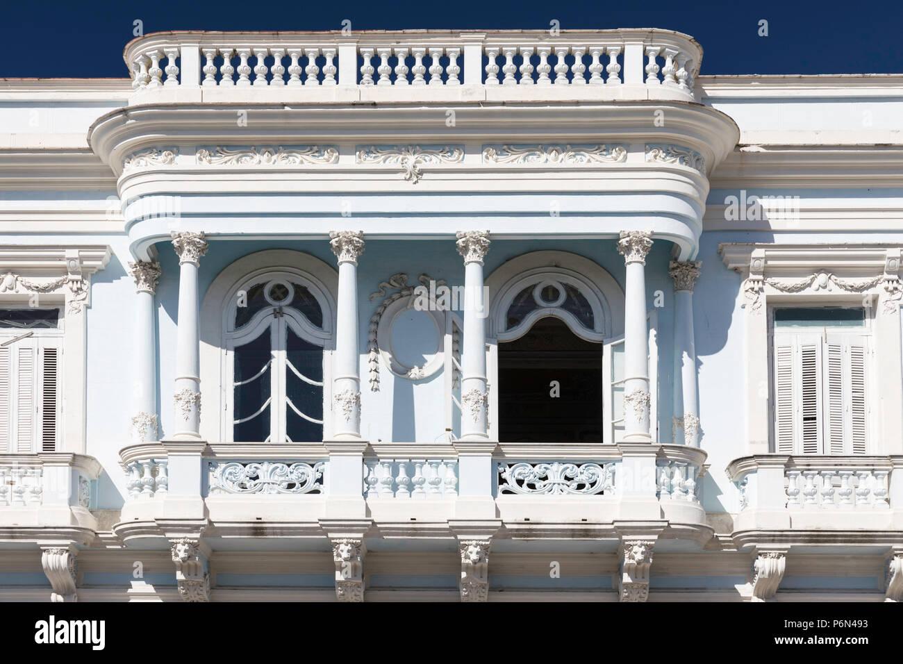 La Casa de Cultura nel Palacio Ferrer edificio dettaglio in Cienfuegos, Cuba. Immagini Stock