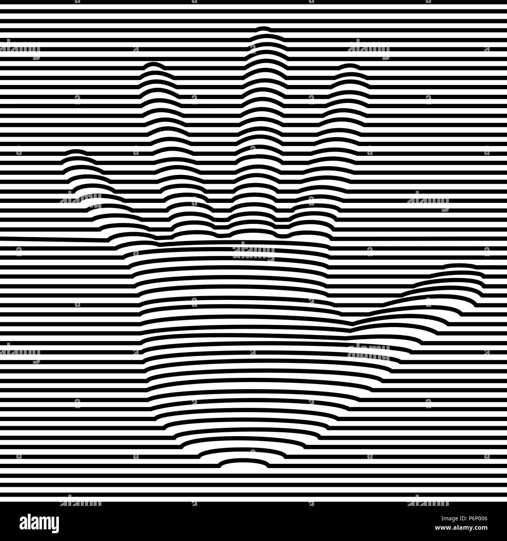 Mano Umana Illusione Ottica Illustrazione In Bianco E Nero 3d