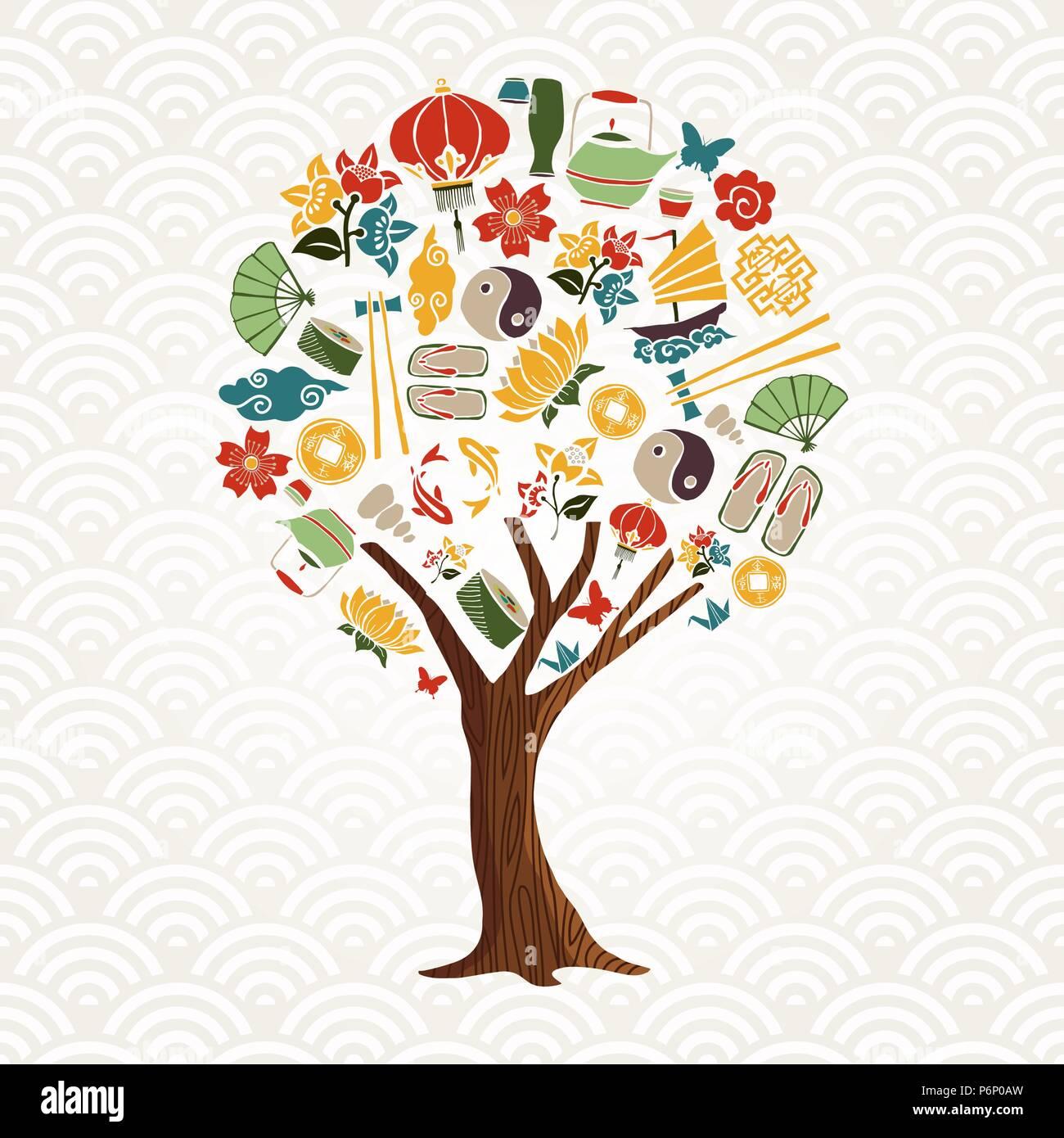 Cultura Asiatica concetto albero illustrazione. Cinese tradizionale icon set con fiore di loto, pesci koi, ying yang simbolo e più. EPS10 vettore. Immagini Stock