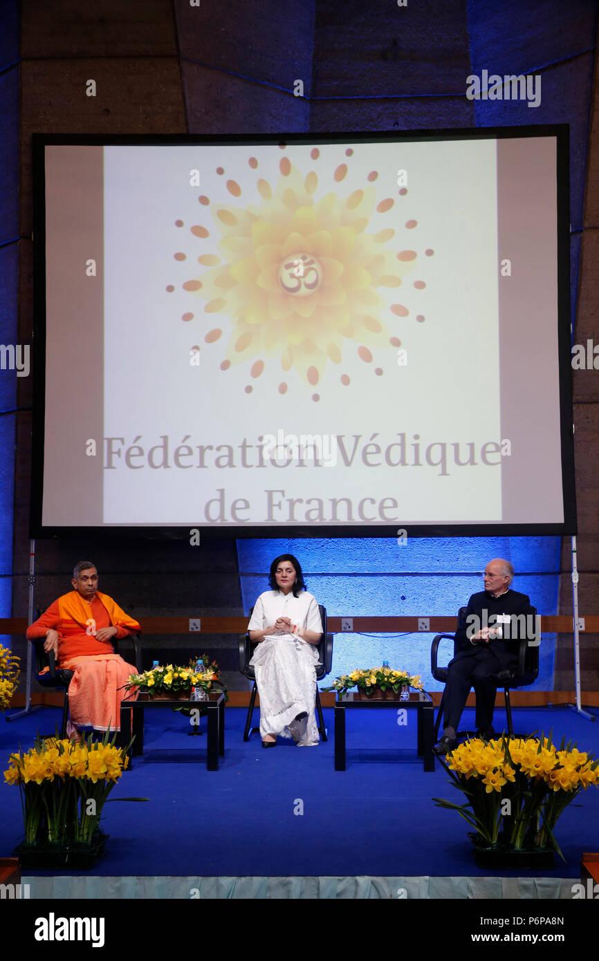 Lancio del francese Federazione vedica presso l'UNESCO, Parigi, Francia. Immagini Stock