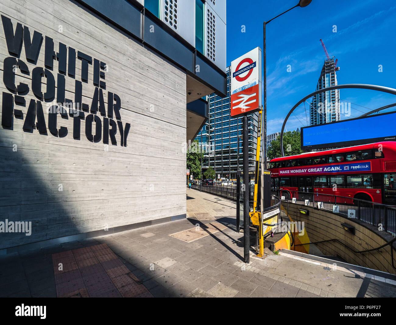 Alla rotonda di silicio Londra - Collare bianco edificio in fabbrica su London's Old Street rotonda, London's Tech Hub in Shoreditch est di Londra. Immagini Stock