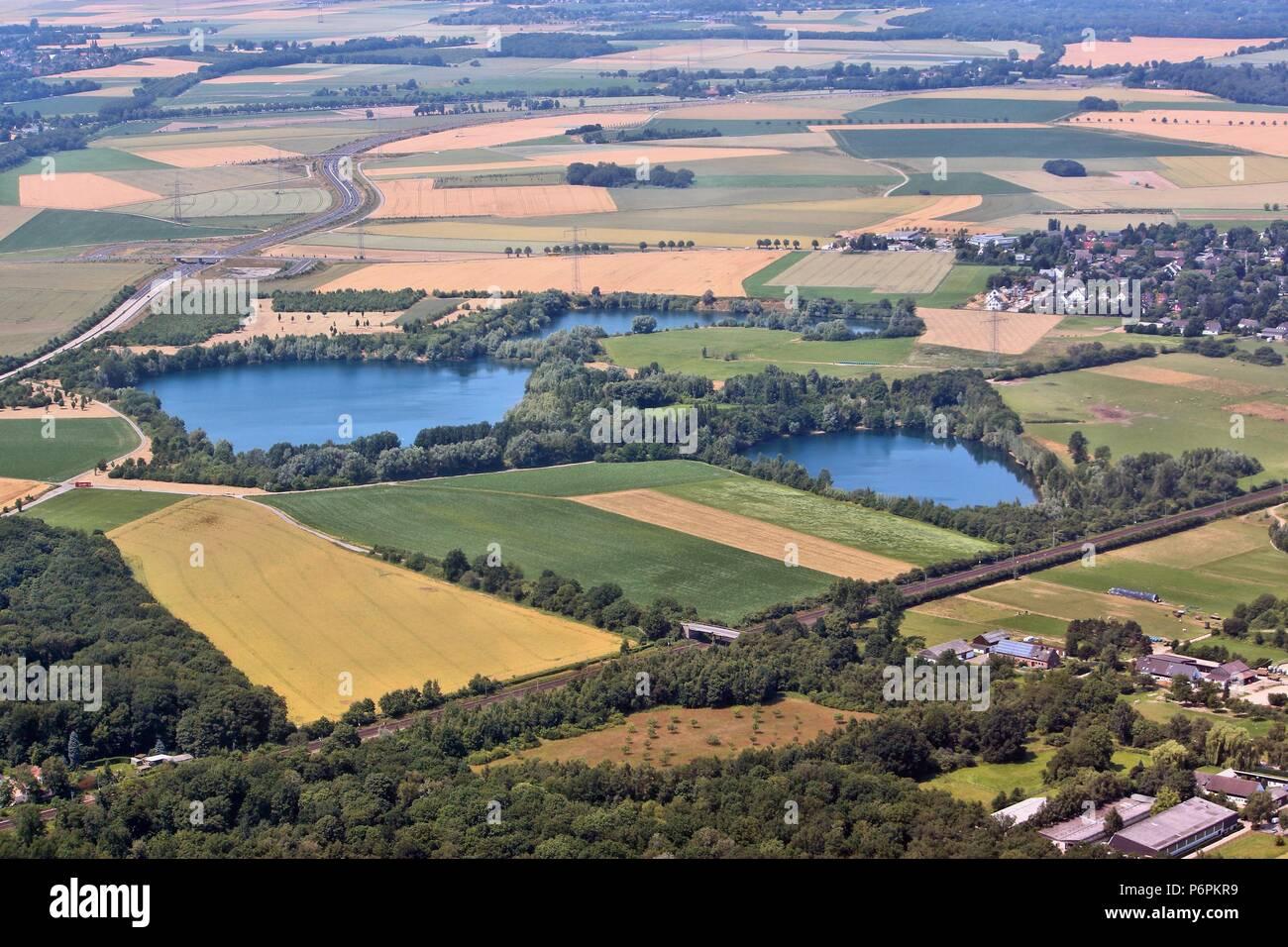 Campagna in Germania - vista aerea del Land Renania settentrionale-Vestfalia Foto Stock