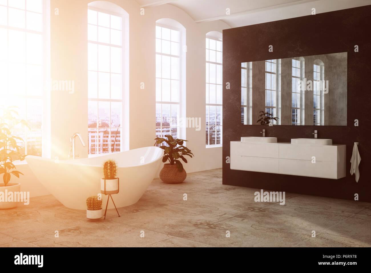 Bagno moderno illuminato dalla luce calda del sole attraverso le grandi finestre di - Finestre a specchio ...