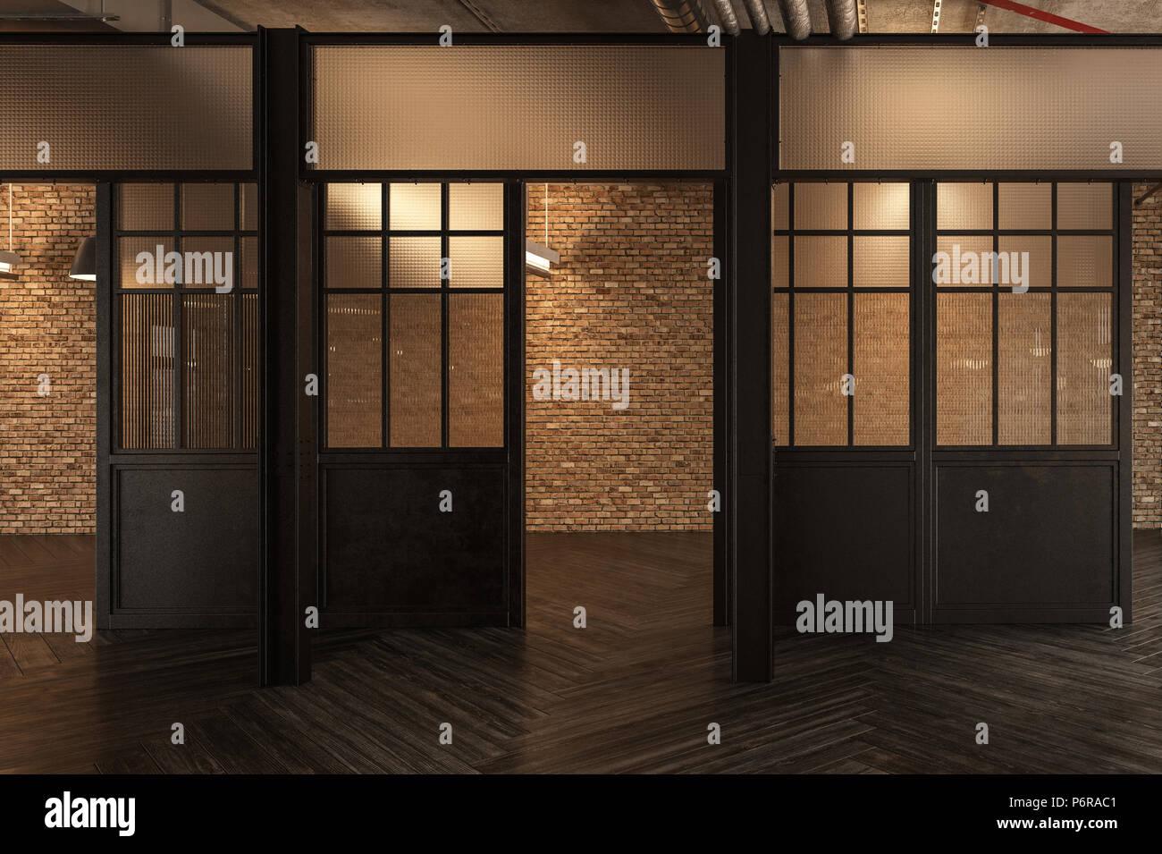 Ufficio Legno E Vetro : Aprire le porte per il corridoio del laccato legno marrone in