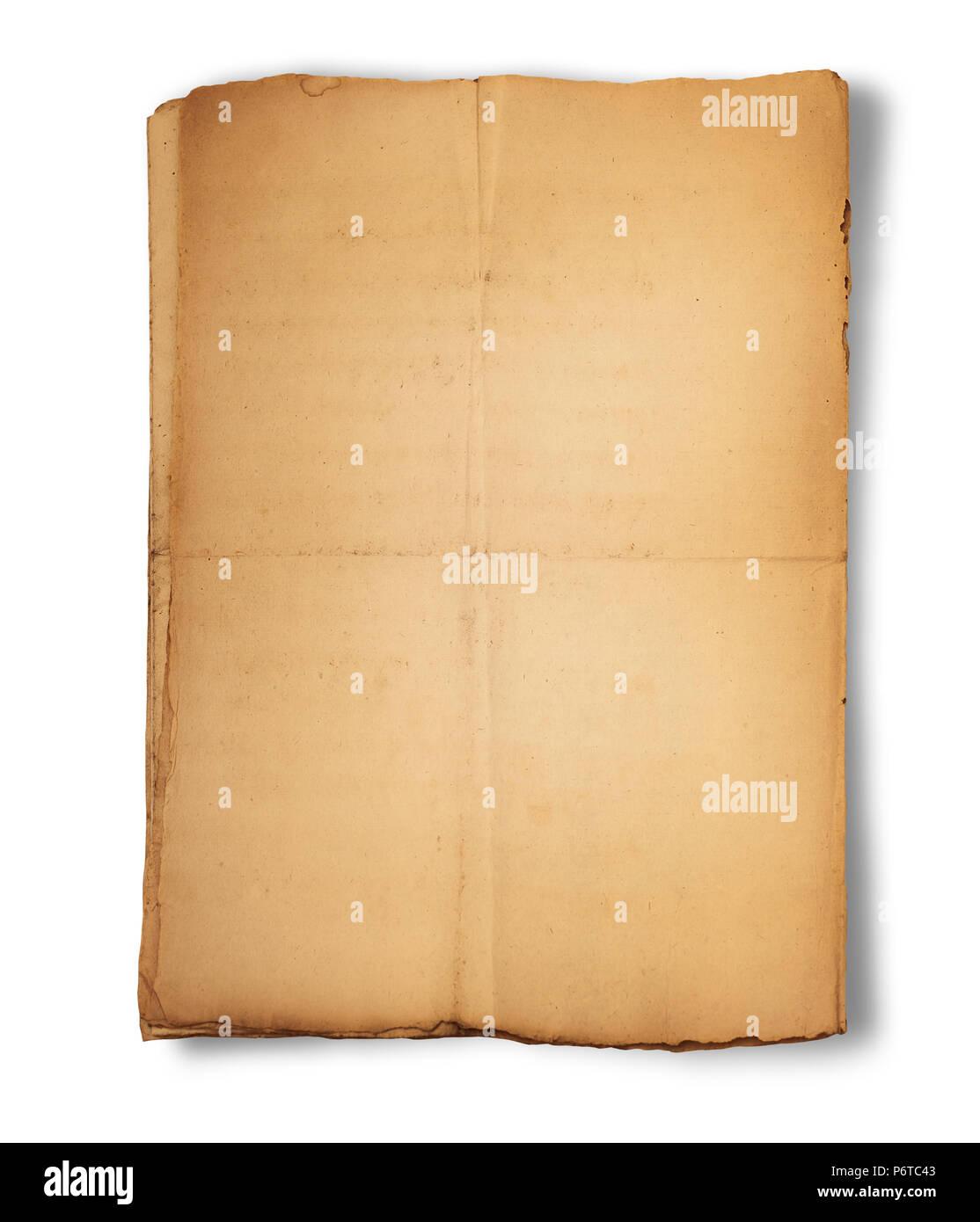 Il vecchio foglio di carta isolato su sfondo bianco Immagini Stock