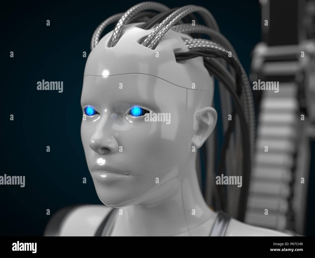 Intelligenza artificiale mozzo, droide bianco versione. 3d illustrazione Foto Stock