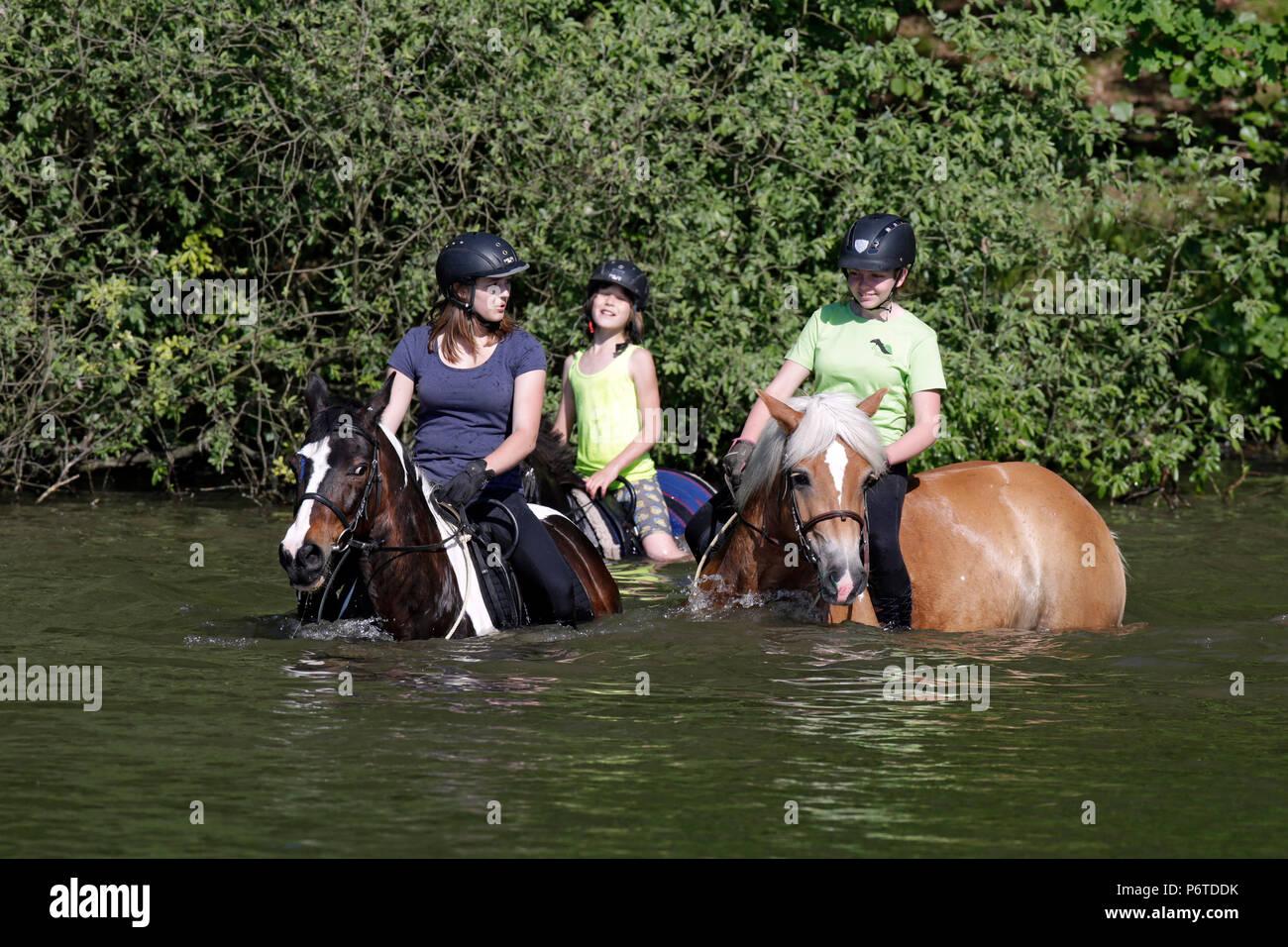 Oberoderwitz, ragazze bagnarsi con i loro cavalli in un lago Immagini Stock