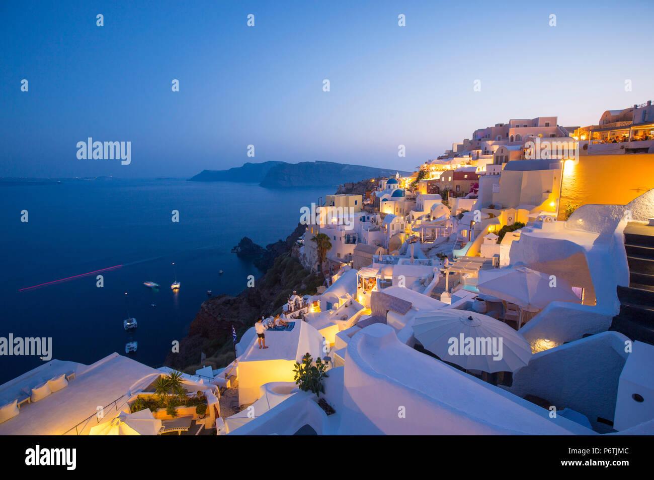 Oia - Santorini (Thira), Isole Cicladi, Grecia Immagini Stock