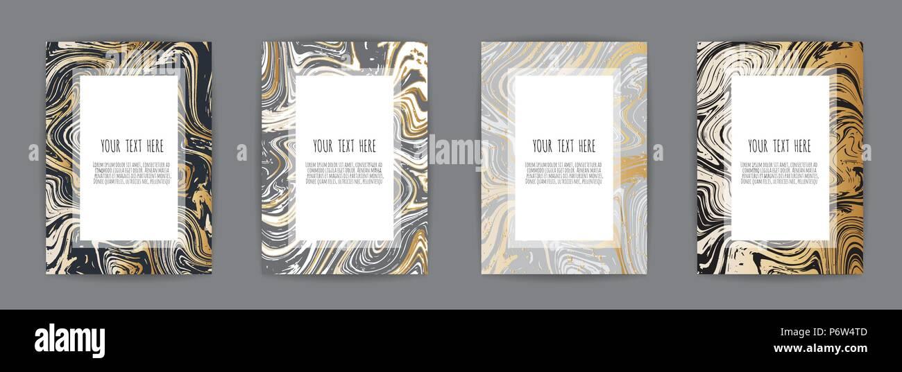 Set Di Elegante Scheda Sfondo Nero E Oro Texture Di Marmo