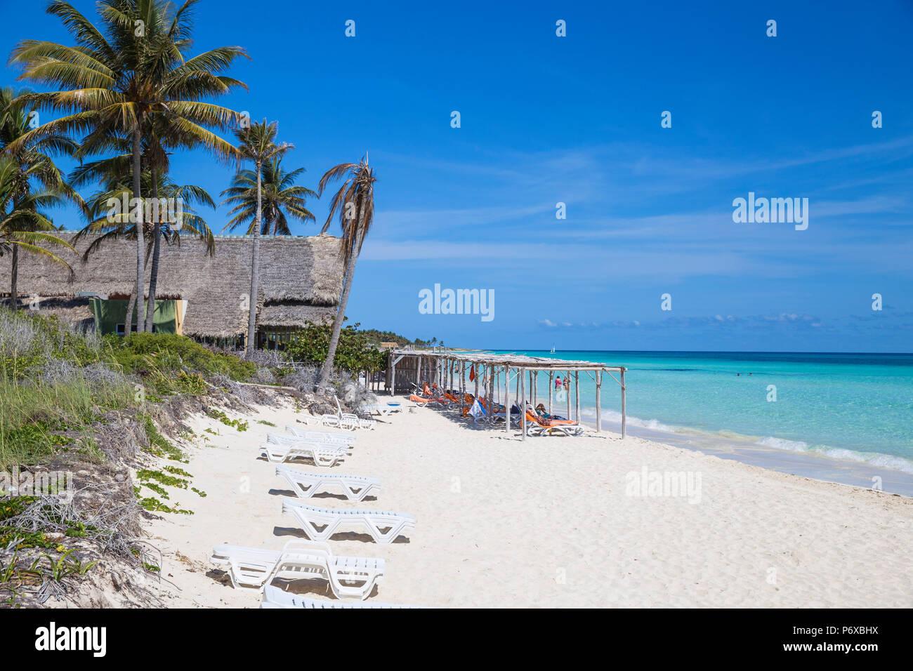 Cuba, Jardines del Rey, Cayo Coco, Playa Larga Immagini Stock