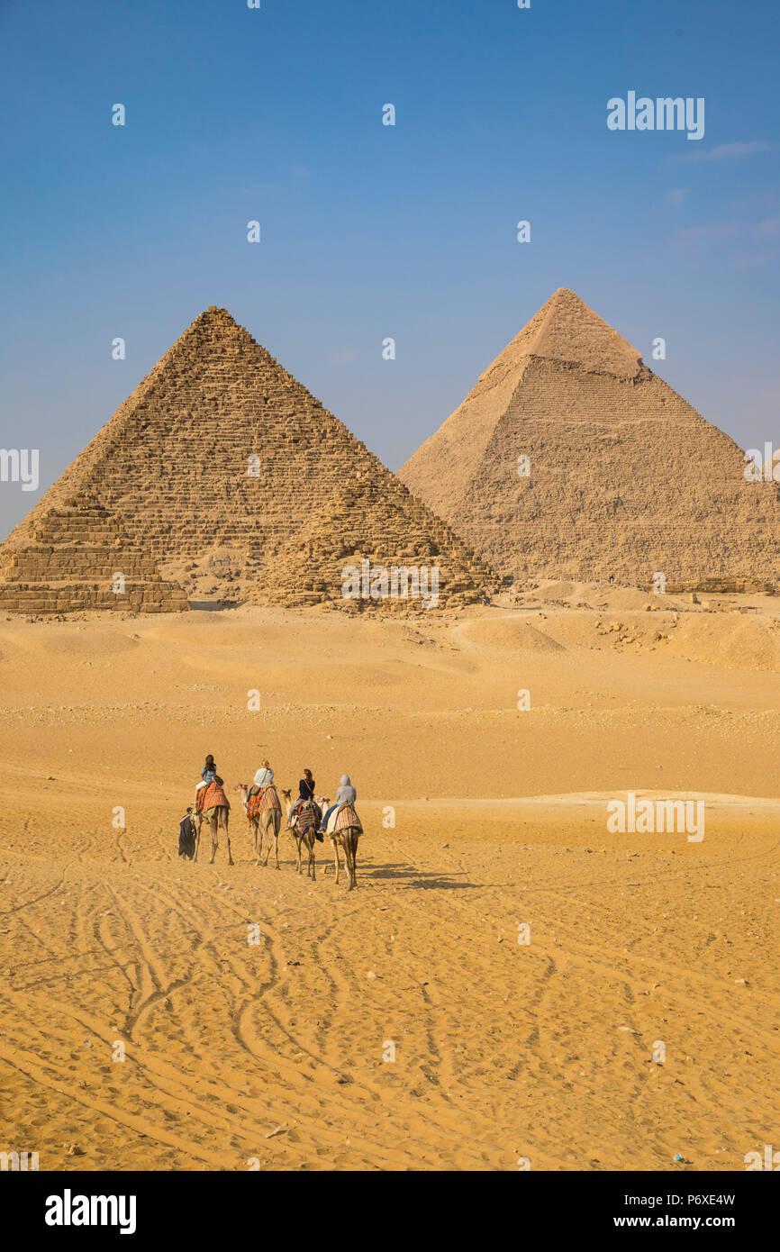 Piramidi di Giza, Giza, il Cairo, Egitto Immagini Stock