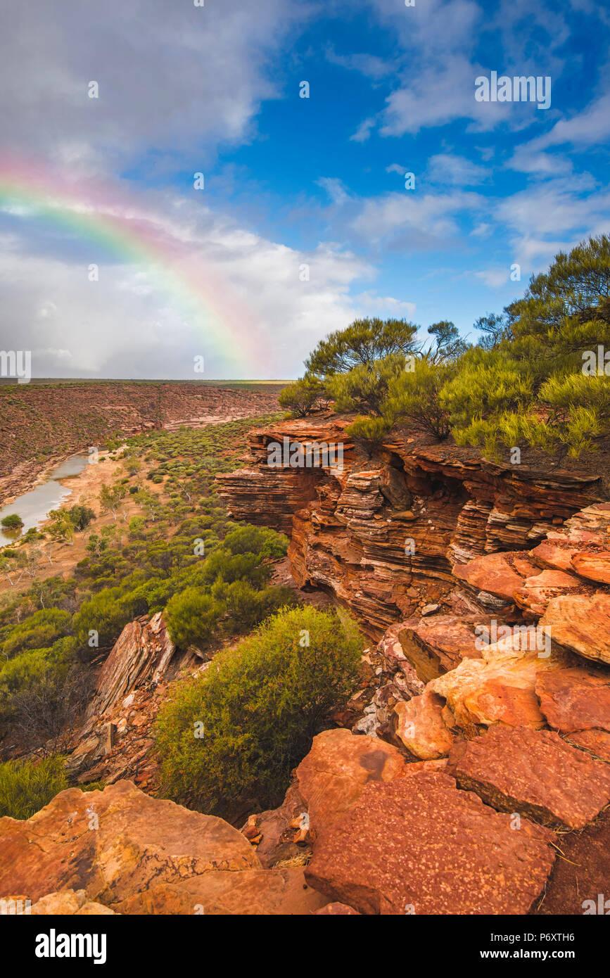 Kalbarri National Park, Kalbarri, Australia occidentale, Australia. Formazione di roccia presso l'ansa del fiume Murchison Gorge. Immagini Stock